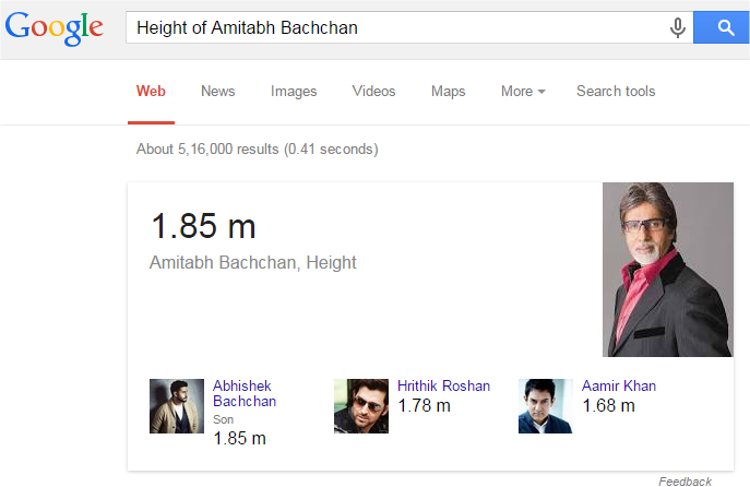 Height of Amitabh Bachchan