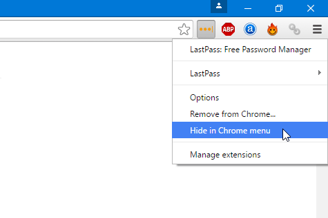 Hide Google Chrome Extensionf rom toolbar