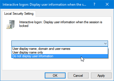 Hide User Information from Windows 10 Login Screen using Group Policy Editor