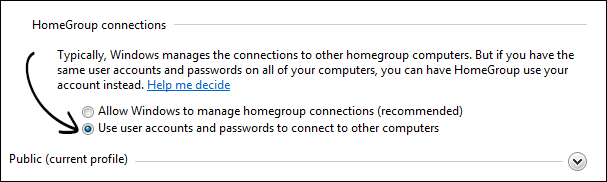 Homegroup Connection Settings