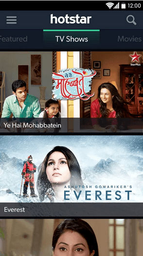 Hotstar app Live TV shows
