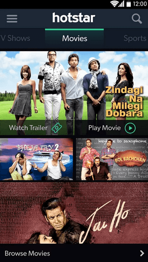 Hotstar app Movies streaming