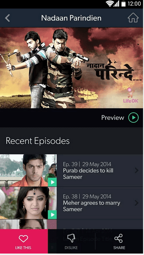 Hotstar app Video Like Dislike Option