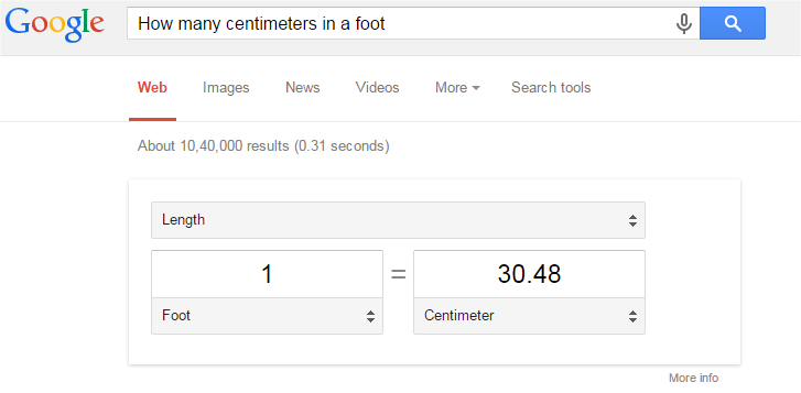 How many centimeters in a foot