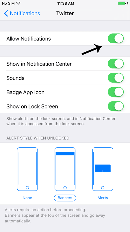 Disable Particular App Notification in iOS 9