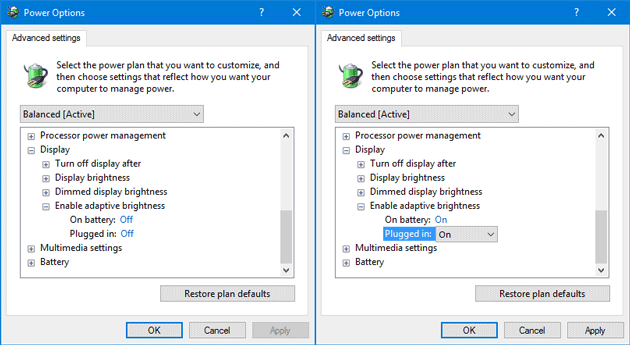 How to Enable Adaptive brightness in Windows 10