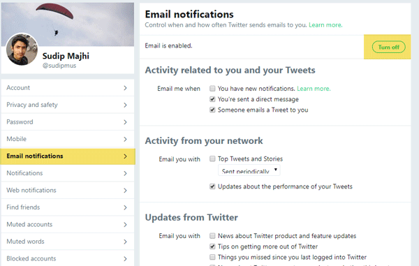 How to Stop Getting Email from Twitter