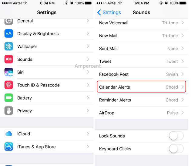 How to change calendart alert tone on iOS