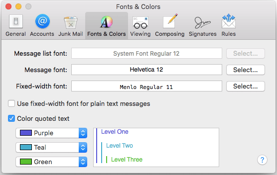 How to change the font of mail app
