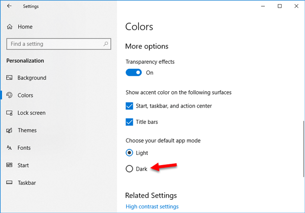 How to enable Dark mode in Windows 10 Settings
