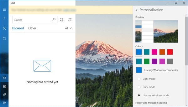 How to enable Dark theme in Windows 10 Mail app
