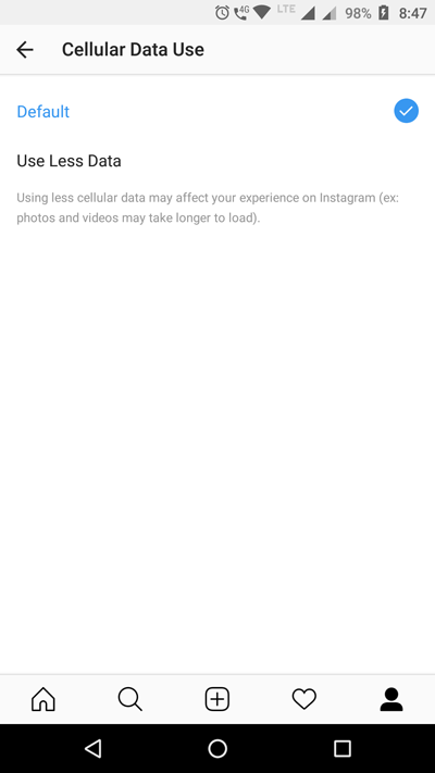 How to enable data saver in Instagram