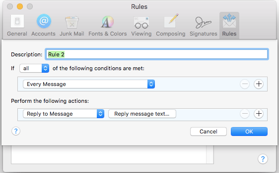 How to set up autoresponder in OS X Mail app