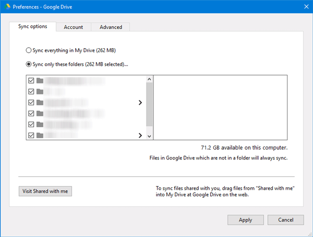 How to synchronize selected Google Drive folder in Windows