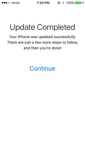 Install IOS 10 beta - Update complete