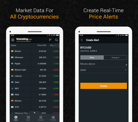 Investing.com Bitcoin Cryptocurrency Management Apps for Android and iOS