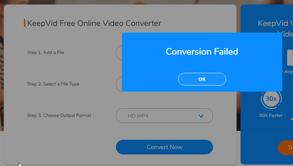 KeepVid Conversion Failed error