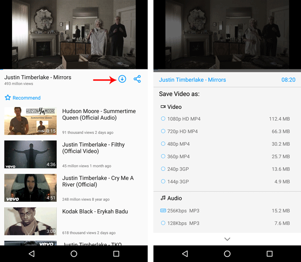 KeepVid video downloader for Android