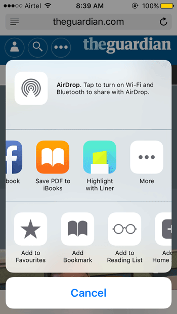 Liner is available in iOS share menu