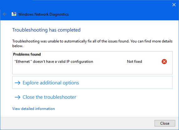 Local area connection doesn't have a valid IP configuration error on Windows 10