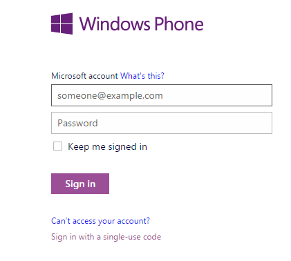 Login Windows Phone