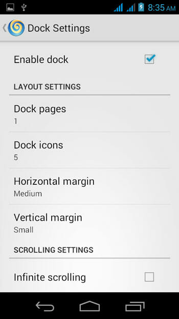 Lollipop Launcher Dock Settings
