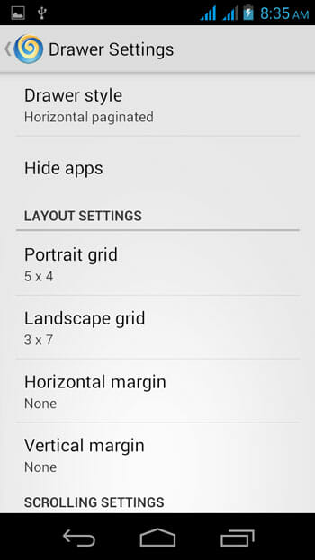 Lollipop Launcher Drawer Settings