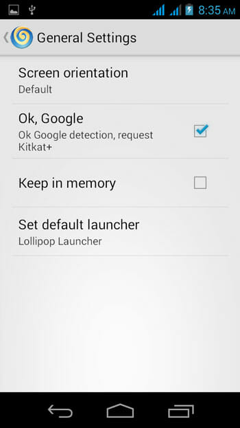 Lollipop Launcher General Settings