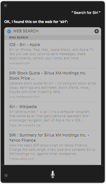 Make web search 10 Things You Can Ask to Siri on macOS Sierra
