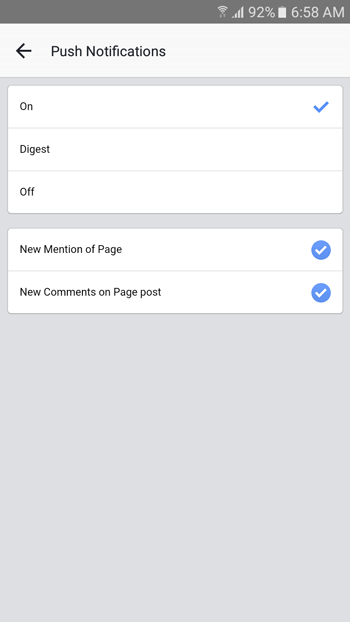 Manage push notifications in facebook pages manager