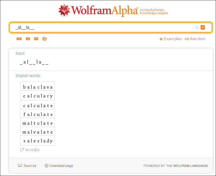 Missing words_Wolfram Alpha