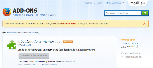 Mozilla Firefox About Addons Memory Extension Download