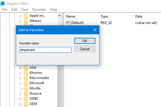 Name the bookmark of Windows Registry