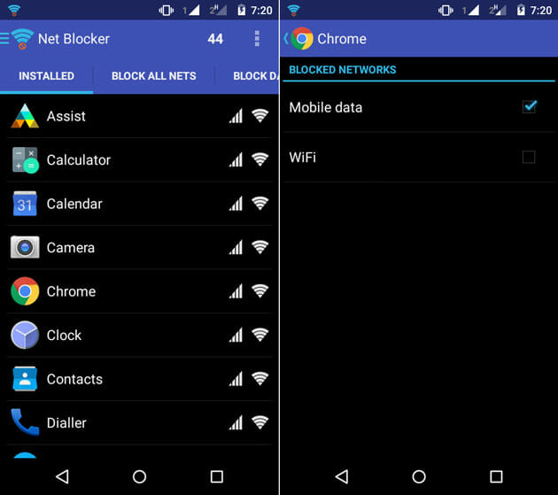 Netblocker app for Android