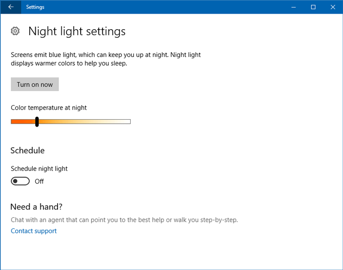 Night Light in Windows 10: how to setup and how it works
