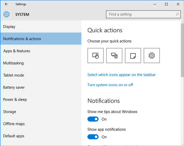 Notification settings in settings panel