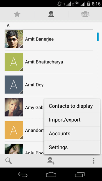 OPen Android Contact settings