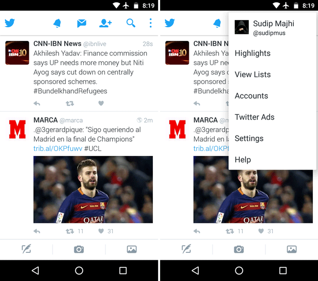 Open Twitter settings on Android