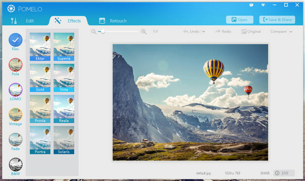 Pomelo - Get Instagram Like Effects on Windows