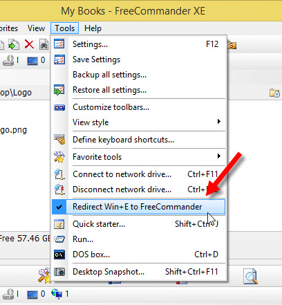 Redirect Windows Explorer to Freecommander