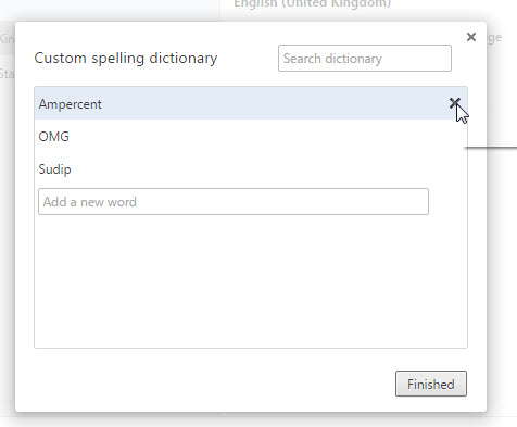 Remove Word from Google Chrome custom dictionary