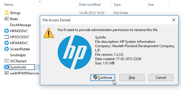 Rename HP System Information app