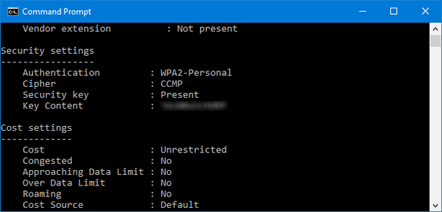 Saved wifi password in windows command prompt
