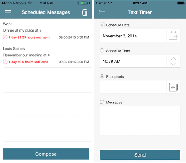 Schedule Text on iOS using Text Timer
