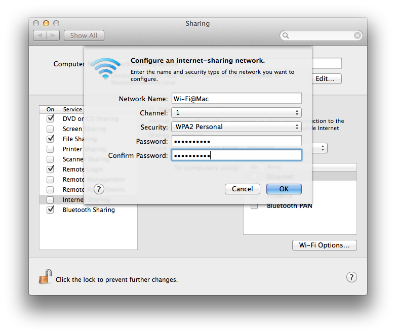 Wi-Fi securing - Internet Sharing