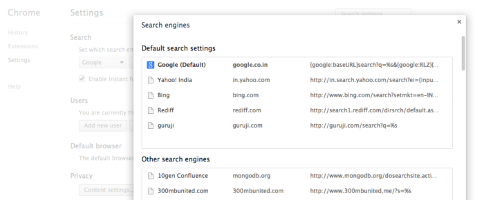 Manage Search Engines - Google Chrome