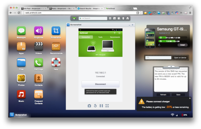 AirDroid - in Google Chrome