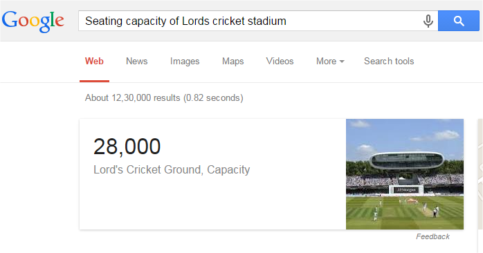Seating capacity of Lords cricket stadium