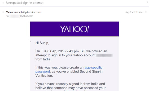 Security warning for Yahoo Mail