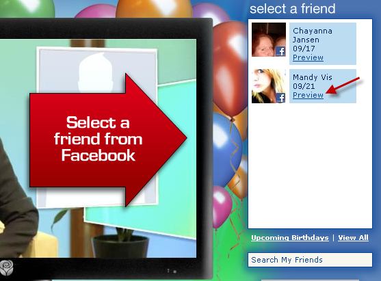 Selecct A Friend From Facebook List To Send Birthday Video Card